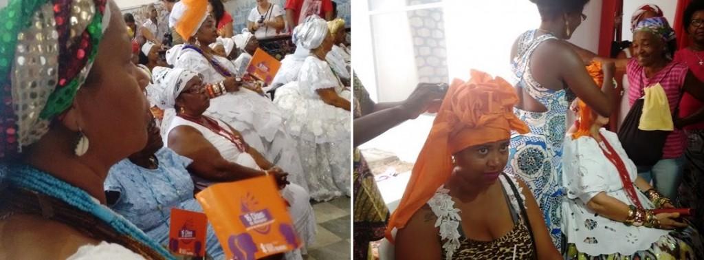 Baianas na missa em homenagem ao seu dia e na fila para ganharem turbante. Foto: Rebeca Bastos/Bahia.ba