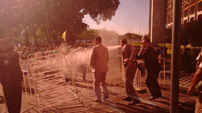 Spray de pimenta foi utilizado para conter os agricultores (Foto: Júlio Reis)