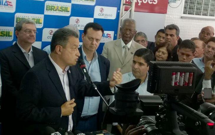 Governador Rui Costa, Gilberto Kassab, ministro das Cidades, e ACM Neto, prefeito de Salvador