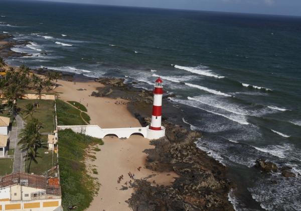 Foto aérea do Farol de Itapuã no bairro de Itapuã, Salvador, Ba. Foto Manu Dias/SECOM