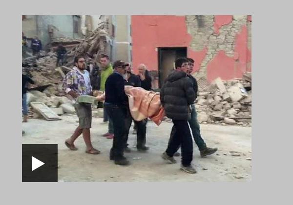 Resgate na cidade de Amatrice. Foto: Reprodução BBC TV