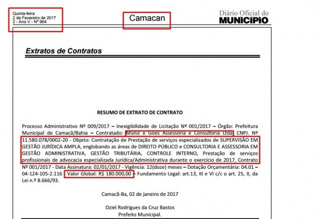Reprodução: Diário Oficial do Município / costasulfm