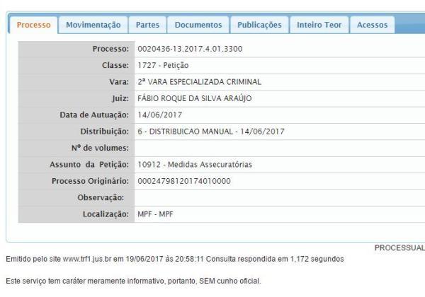 Petição contra ex-ministro no site da Justiça Federal da Bahia