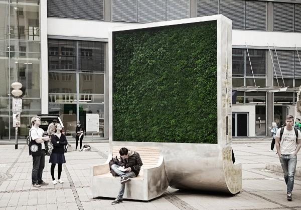 CityTree: parede vertical filtra poluição do ar. (Foto: CityTree/Reprodução)