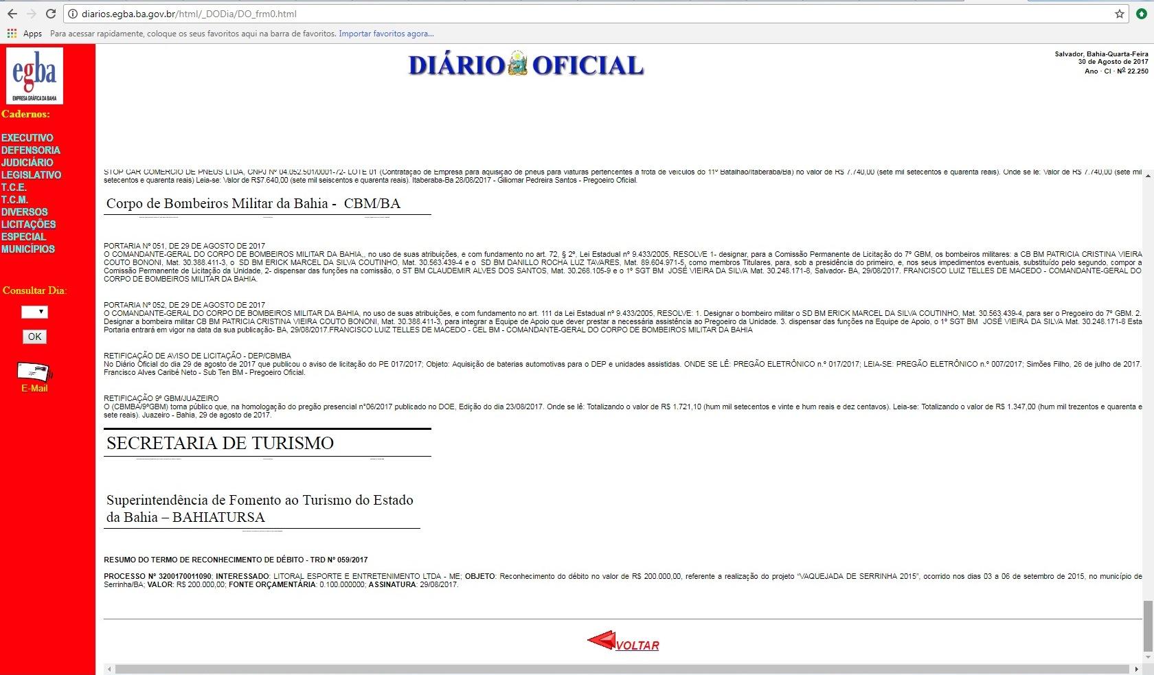 30082017 diario oficial estado reconhecimento debito bahiatursa litoral esporte