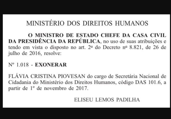 Secretária de Direitos Humanos demitida após criticar trabalho escravo