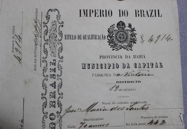 Título de Qualificação do Império do Brasil concedido a um pescador de 70 anos.