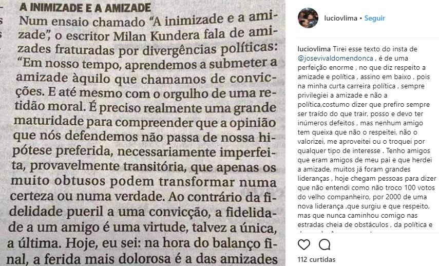 lucio-instagram Lúcio manda recado a antigos parceiros: 'Prefiro ser traído do que trair Politica