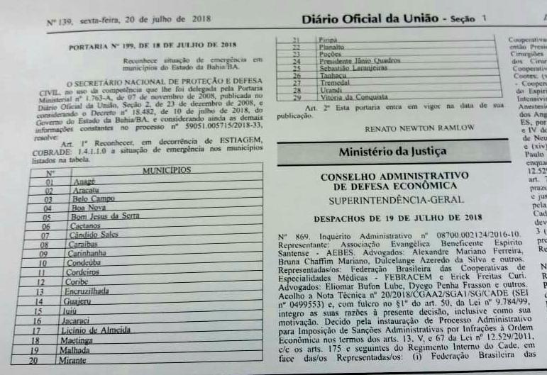 decreto federal de emergencia cidades baianas