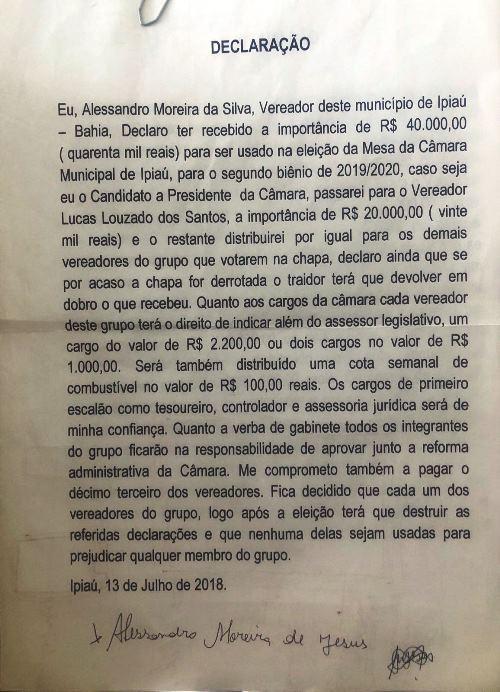 Cópia do documento apresentado por Herbert Emanoel Campos contra o vereador San de Paulista