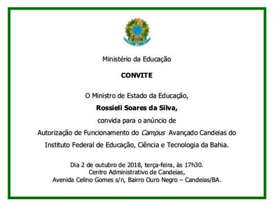 convite ministerio da educação candeis