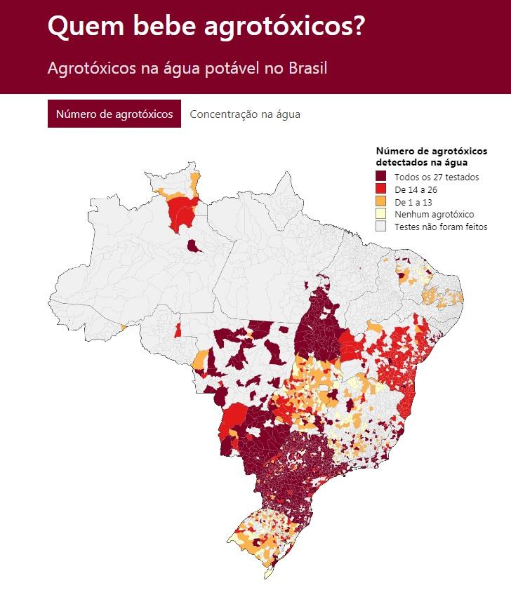 Número de agrotóxicos nos municípios brasileiros | Fonte: Estudo da Repórter Brasil e Agência Pública / Sistema de Informação de Vigilância da Qualidade da Água para Consumo Humano (Sisagua)