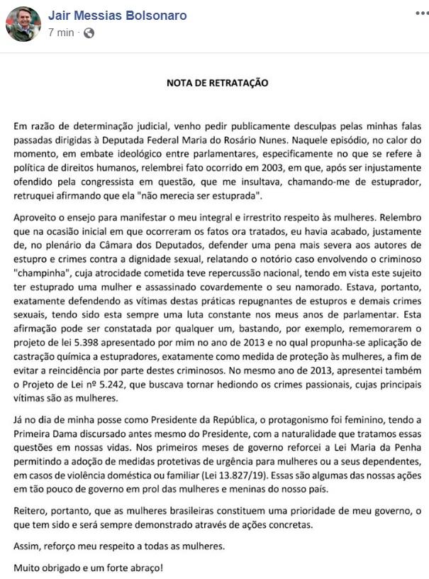 bolsonaro nota facebook