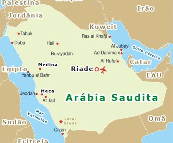 Mapa da Arábia Saudita. (Foto: Reprodução/Arábia Saudita.org)