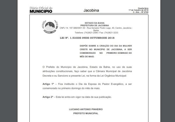Foto: Reprodução/ Diário Oficial do Município de Jacobina