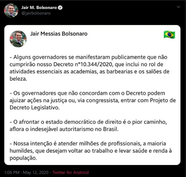Imagem: Reprodução/ Twitter Jair Bolsonaro
