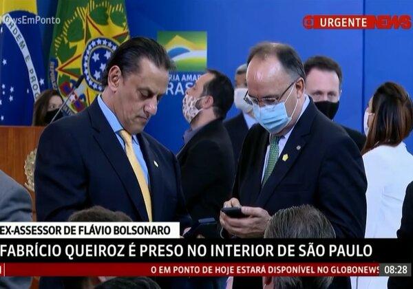 Sem máscara, advogado Frederick Wassef participa de evento na quarta-feira, no Planalto (Imagem: Reprodução/GloboNews)
