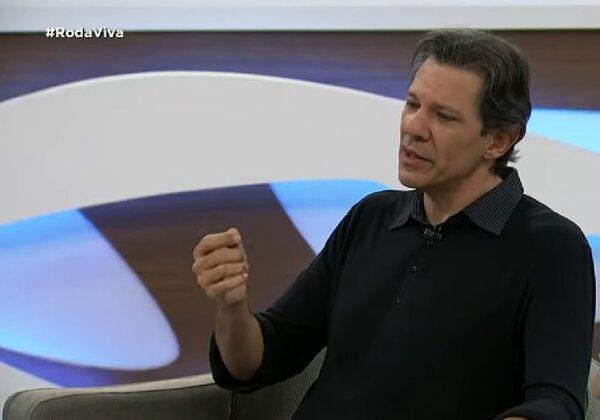 Ex-prefeito de SP Fernando Haddad no programa Roda Viva (Imagem: reprodução/Tv Cultura)