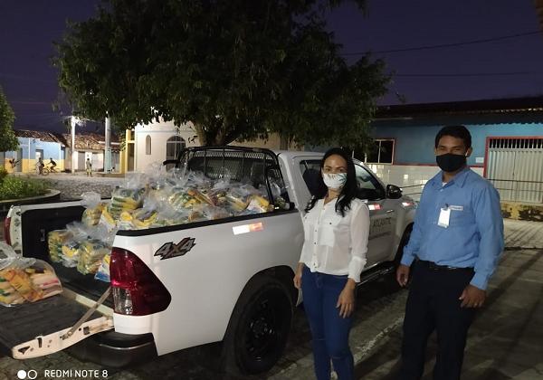 Foto: Doação de cestas básicas pela Atlantic Nickel em Itagibá. (Foto: Divulgação/Assessoria)