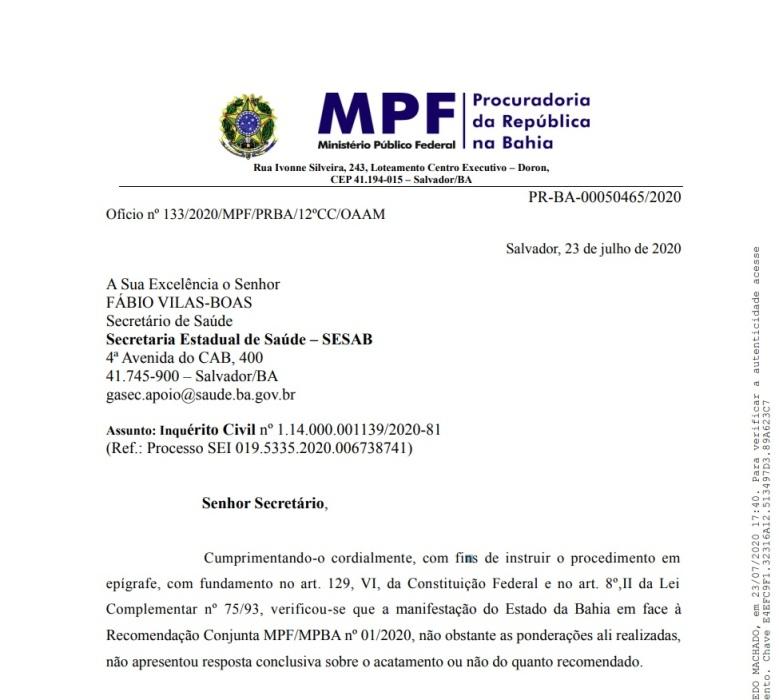 Ofício enviado pelos MPs à Sesab. Foto: Reprodução/MPF-BA