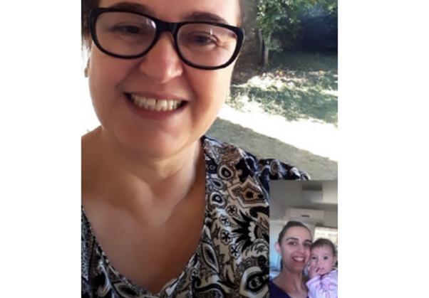 Eleuza fala diariamente com a filha e a neta, que completa, neste domingo, cinco meses de vida -- Arquivo Pessoal