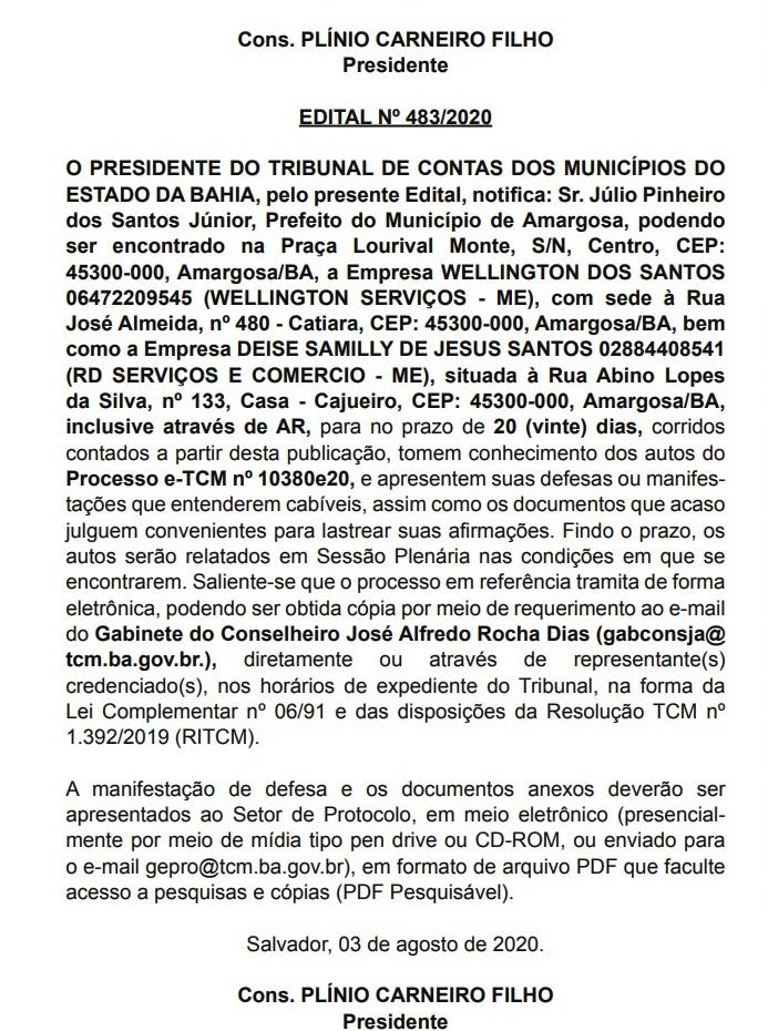 Foto: Reprodução/Diário Oficial/TCM-BA