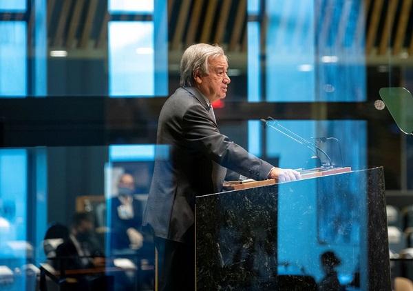 O secretário-geral das Nações Unidas, Antonio Guterres, fala durante a 75ª Assembleia Geral anual da ONU, que está sendo realizada principalmente devido à pandemia da doença coronavírus (COVID-19)  (Foto: Organização das Nações Unidas)