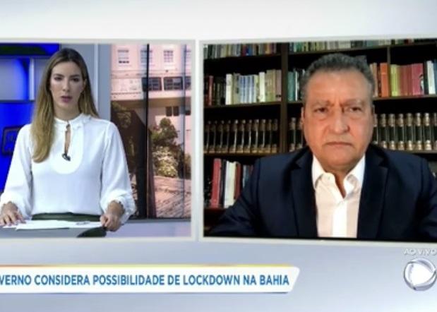 Governador Rui Costa em entrevista à Record Bahia (Imagem: Reprodução/Record Bahia)