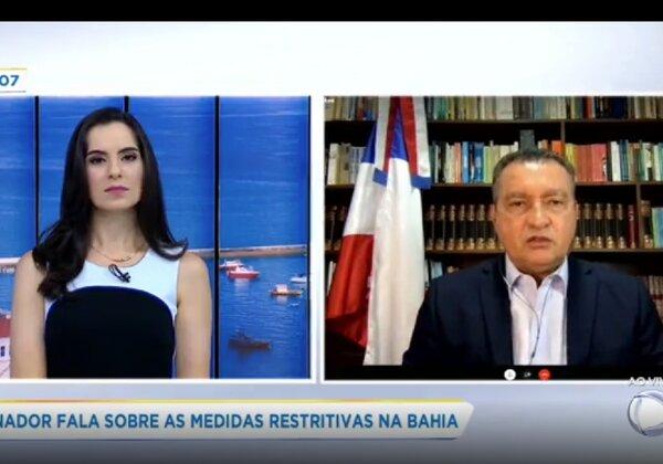 Governador Rui Costa em entrevista à RecordTV - Reprodução/Record/TV