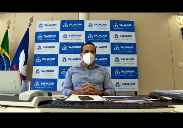 Prefeito (Bruno Reis (DEM) durante entrevista coletiva (Imagem: Reprodução/Zoom)