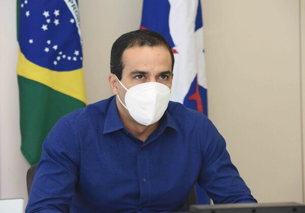 Bruno Reis (DEM), prefeito de Salvador, durante coletiva virtual (Foto: Betto Jr./Secom)