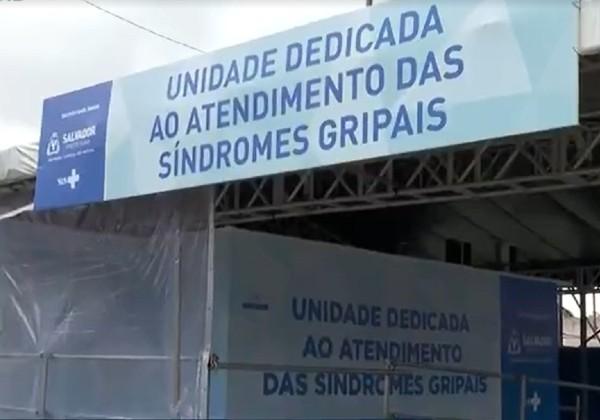 Fachada do gripário da UPA São Cristóvão, em Salvador, que foi desativado nesta terça-feira (13). — Foto: Reprodução/TV Bahia